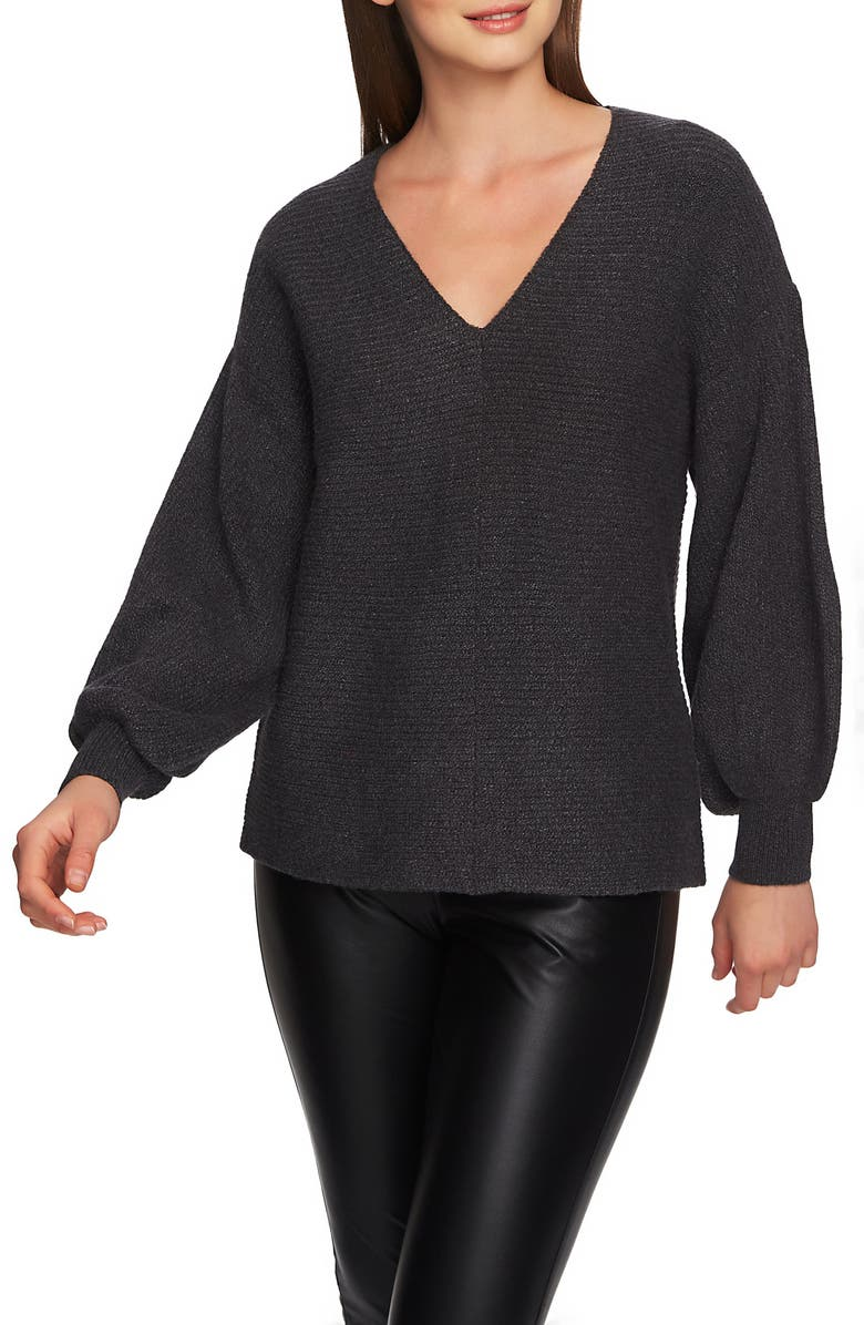 1.STATE Blouson Sleeve V-Neck Sweater, Main, color, 013