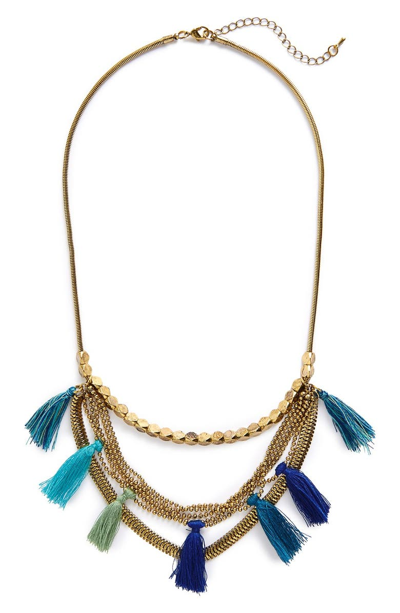 SOLE SOCIETY Tassel Multistrand Necklace, Main, color, 400