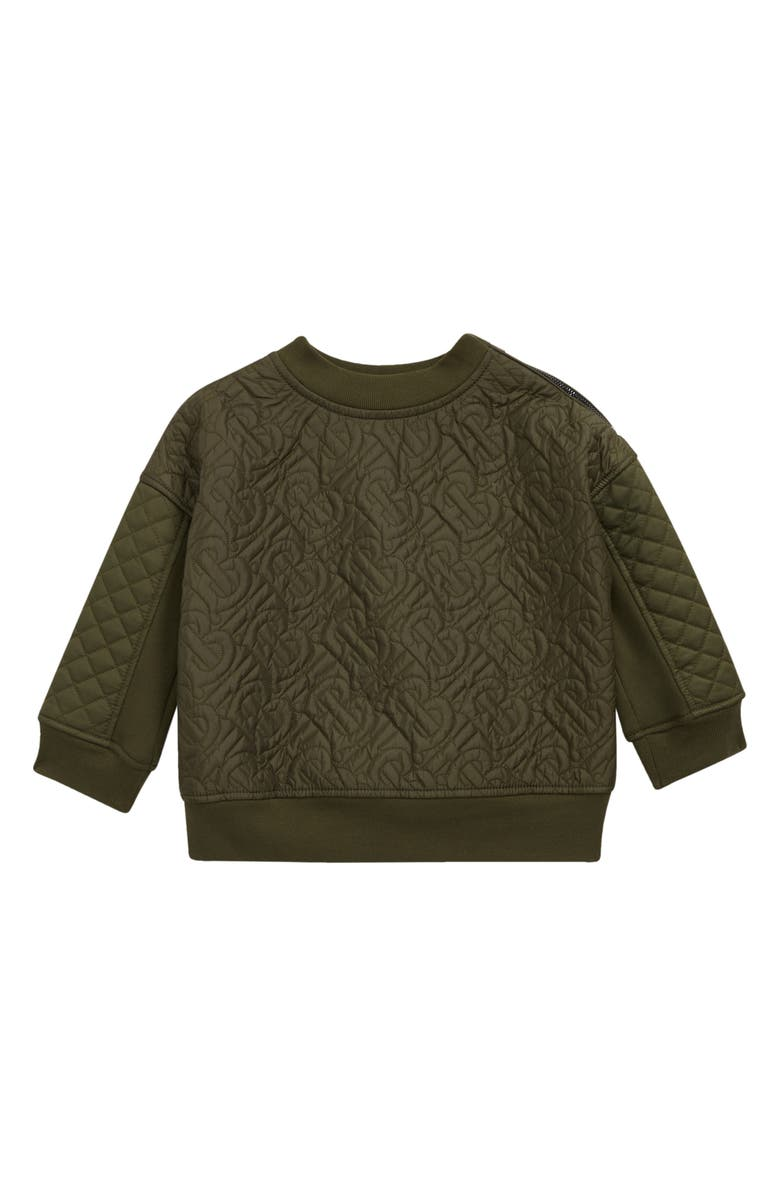 BURBERRY Kids' Timothie Monogram Quilted Sweatshirt, Main, color, MOSS GREEN