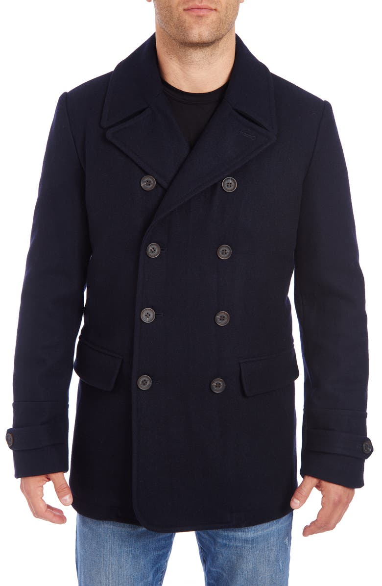 VINCE CAMUTO Water Resistant Wool Blend Peacoat, Main, color, NAVY