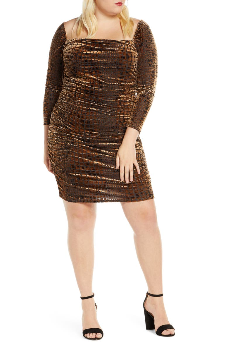 LEITH Long Sleeve Ruched Velour Minidress, Main, color, 210