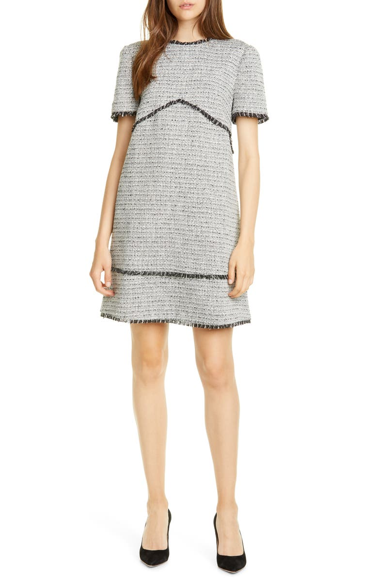 TED BAKER LONDON Aleiced Tweed Shift Dress, Main, color, 020