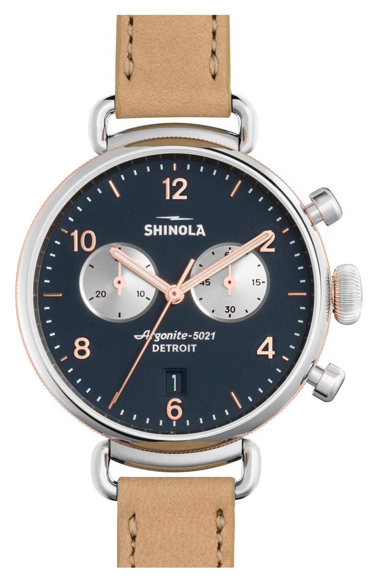 SHINOLA 'The Canfield Chrono' Leather Strap Watch, 38mm, Main, color, 000