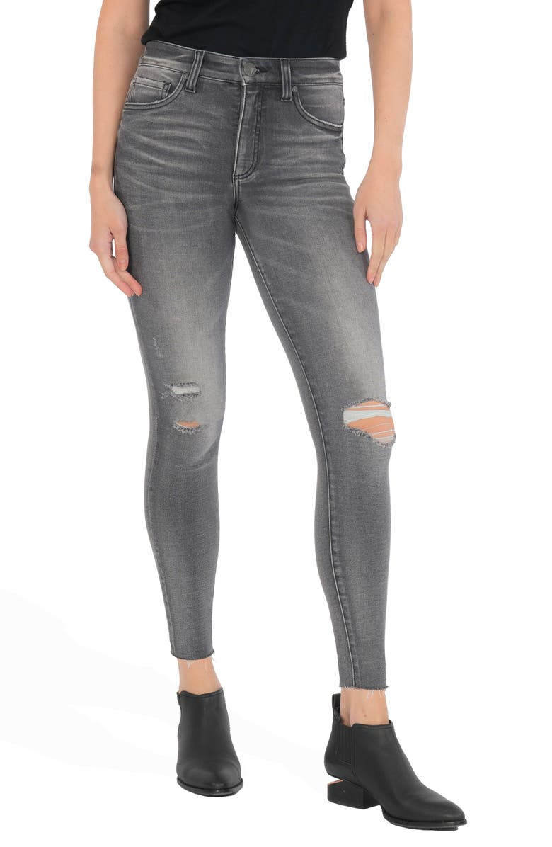 KUT FROM THE KLOTH Connie Ab Fab Ripped High Waist Raw Hem Ankle Skinny Jeans, Main, color, ACT