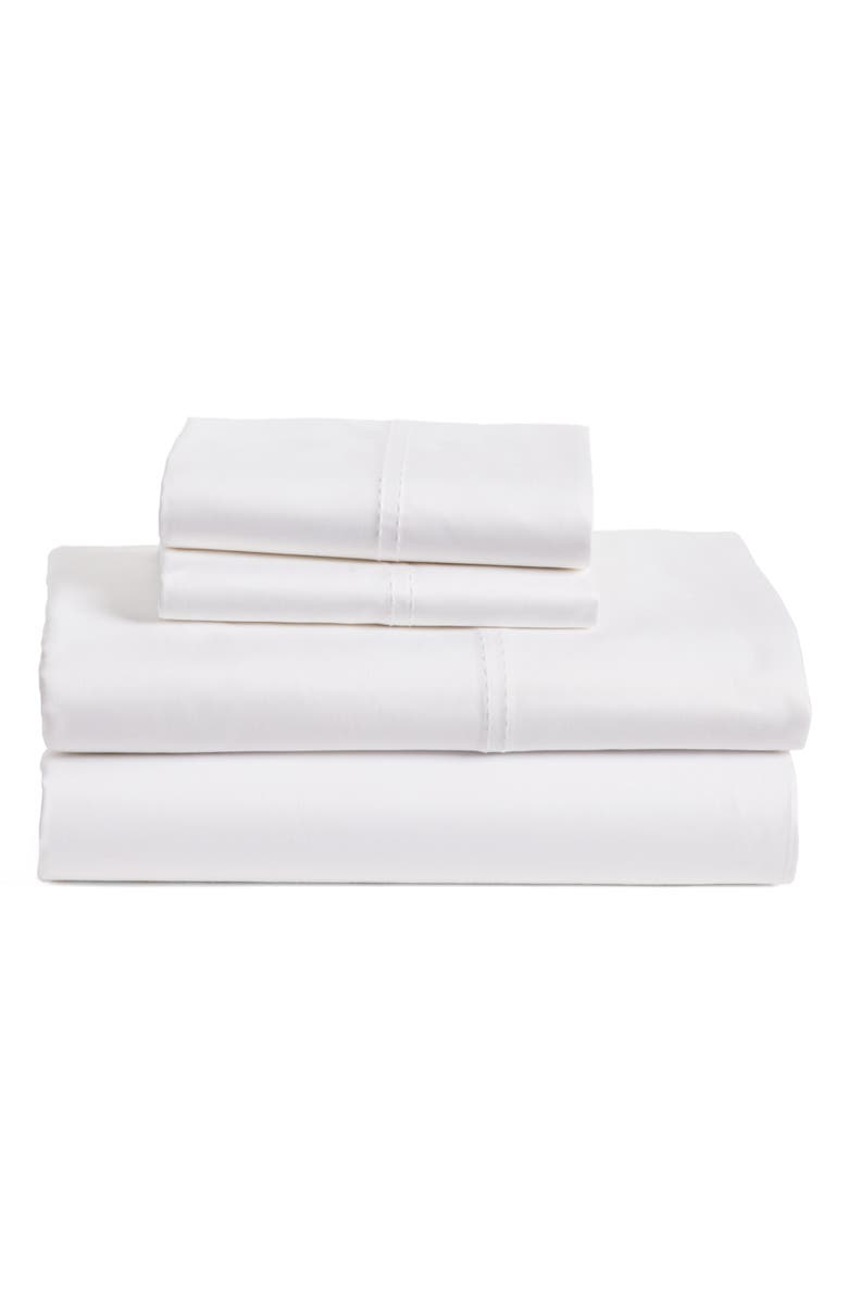 NORDSTROM 400 Thread Count Organic Cotton Sateen Sheet Set, Main, color, WHITE