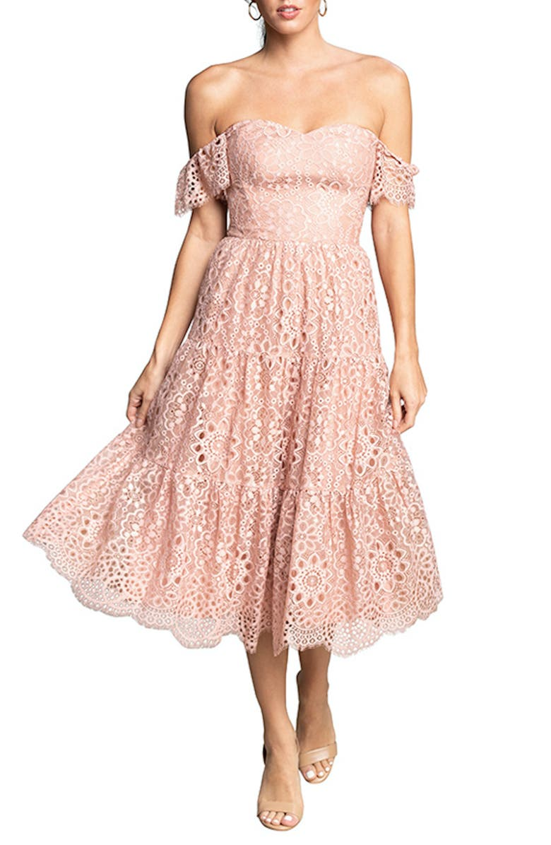 DRESS THE POPULATION River Lace Off the Shoulder Fit & Flare Dress, Main, color, BLUSH