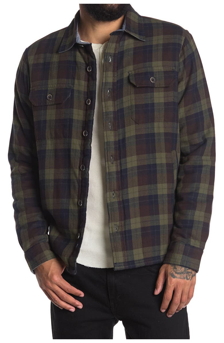TAILOR VINTAGE Fleece Lined Plaid Flannel Shirt, Main, color, ARMY PLAID/ NAVY SHERPA