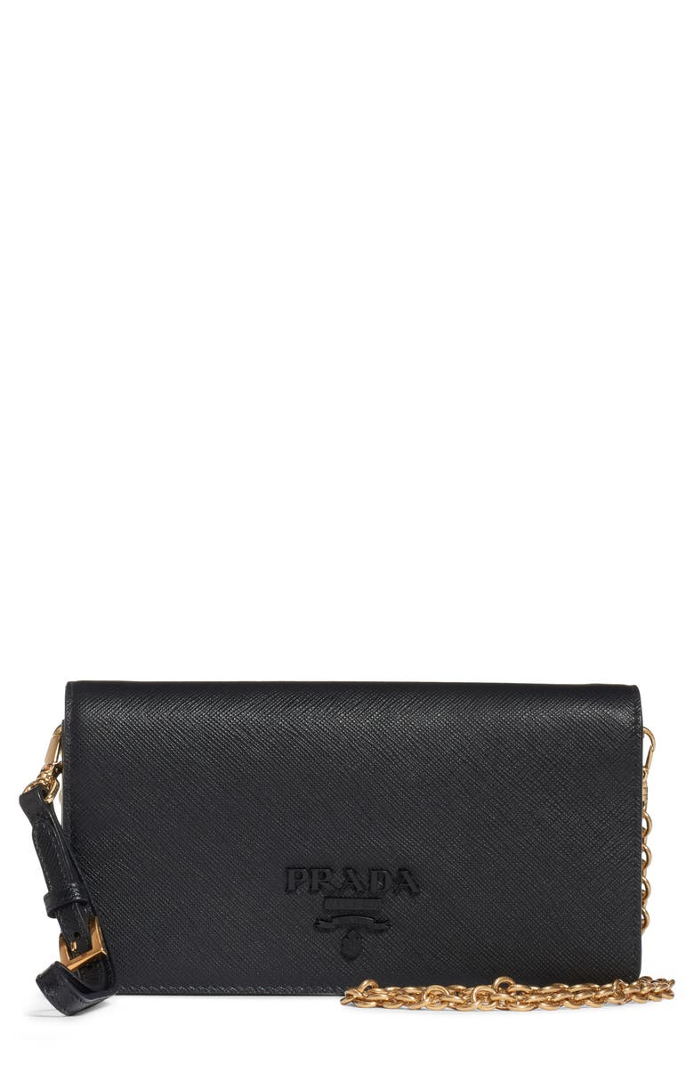 PRADA Mini Monochrome Leather Wallet on a Chain, Main, color, NERO