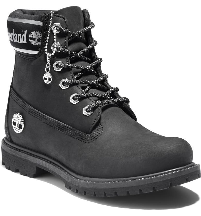 TIMBERLAND 6-Inch Premium Waterproof Boot, Main, color, BLACK/ WHITE LEATHER