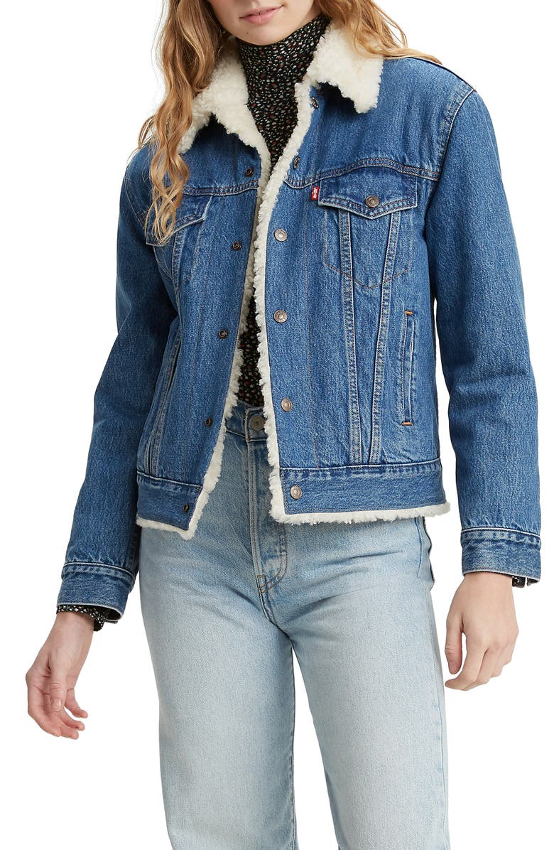 LEVI'S<SUP>®</SUP> Ex-Boyfriend Faux Shearling Denim Trucker Jacket, Main, color, 420