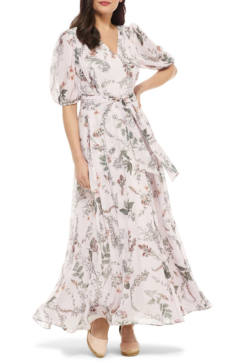 GAL MEETS GLAM COLLECTION Phoebe Floral Puff Sleeve Chiffon Maxi Dress, Main, color, 685