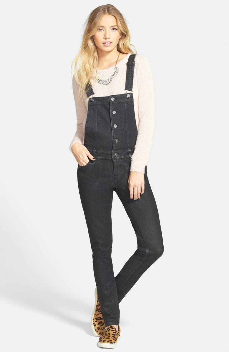 LOVE, FIRE Fire Button Front Denim Overalls, Main, color, 001