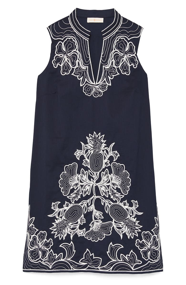 TORY BURCH Embroidered Cotton Voile Cover-Up Tunic Dress, Main, color, TORY NAVY