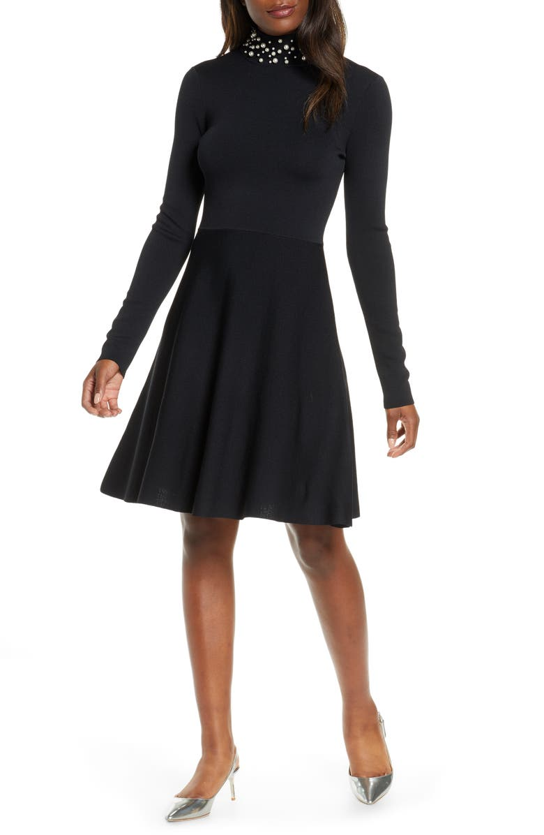 ELIZA J Long Sleeve Fit & Flare Sweater Dress, Main, color, 001
