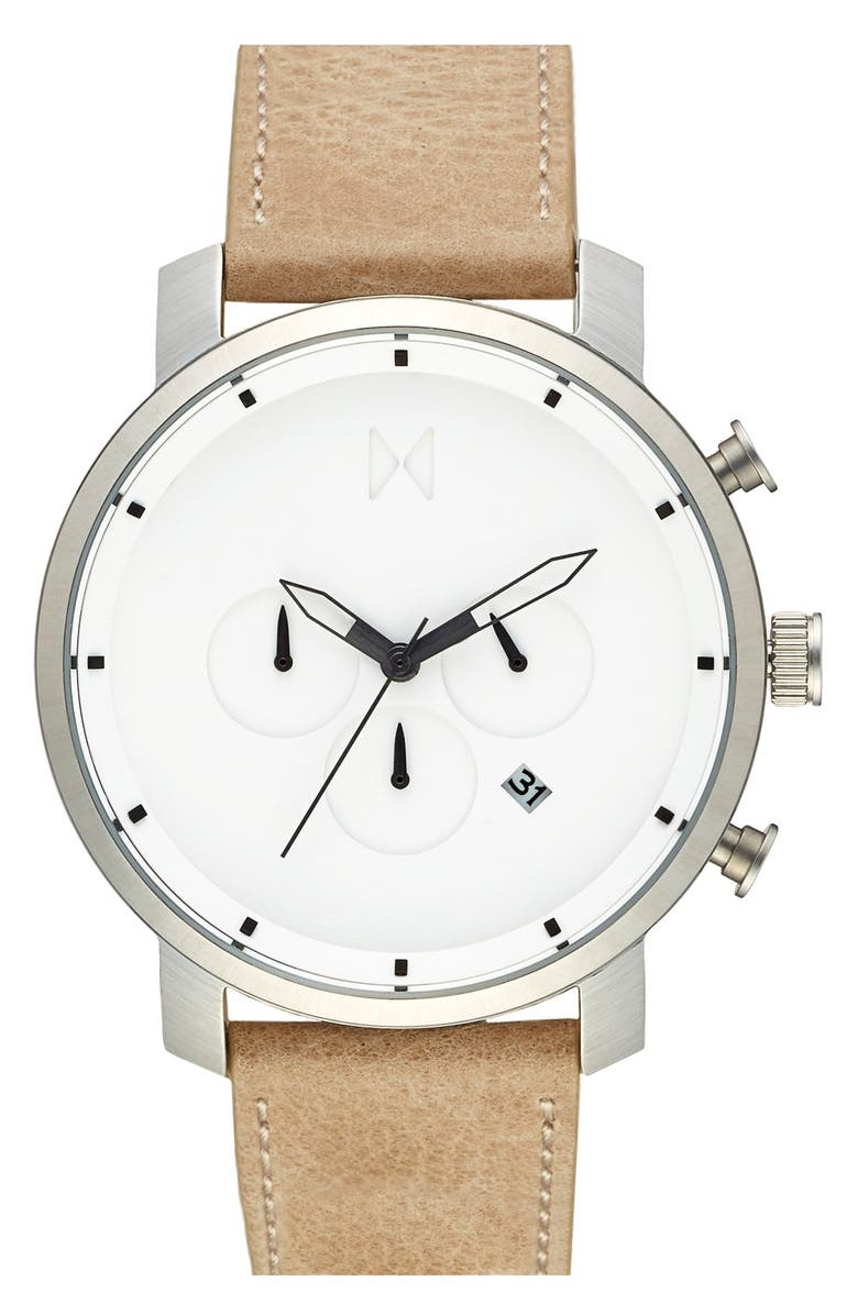 MVMT Chronograph Leather Strap Watch, 45mm, Main, color, 253