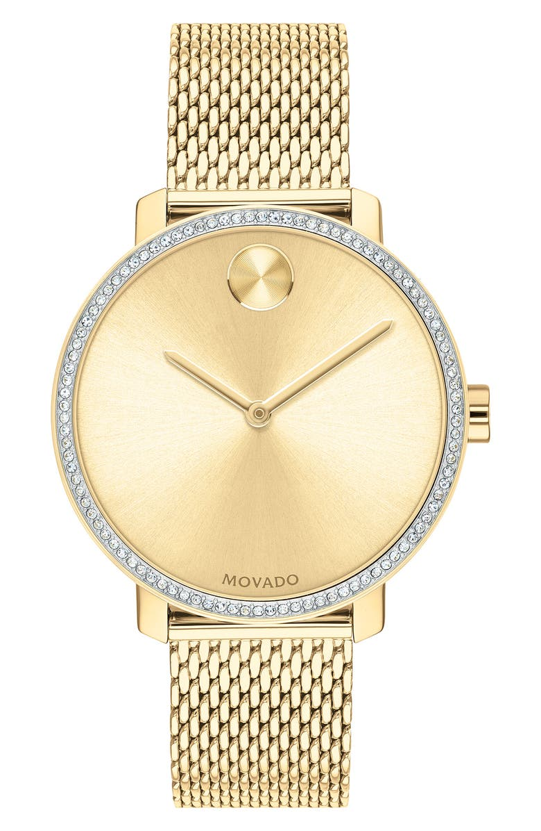 MOVADO Bold Crystal Bezel Mesh Strap Watch, 34mm, Main, color, 710
