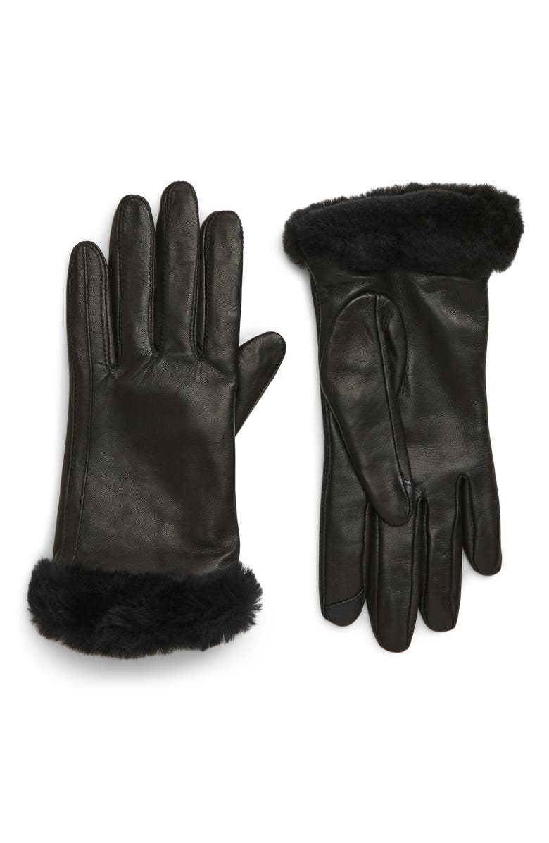 UGG<SUP>®</SUP> Genuine Shearling Leather Tech Gloves, Main, color, BLACK