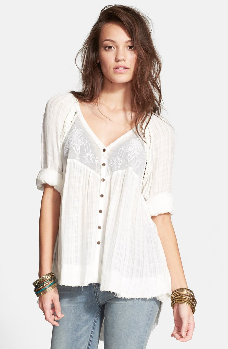 FREE PEOPLE Embroidered Button Front Top, Main, color, IVORY