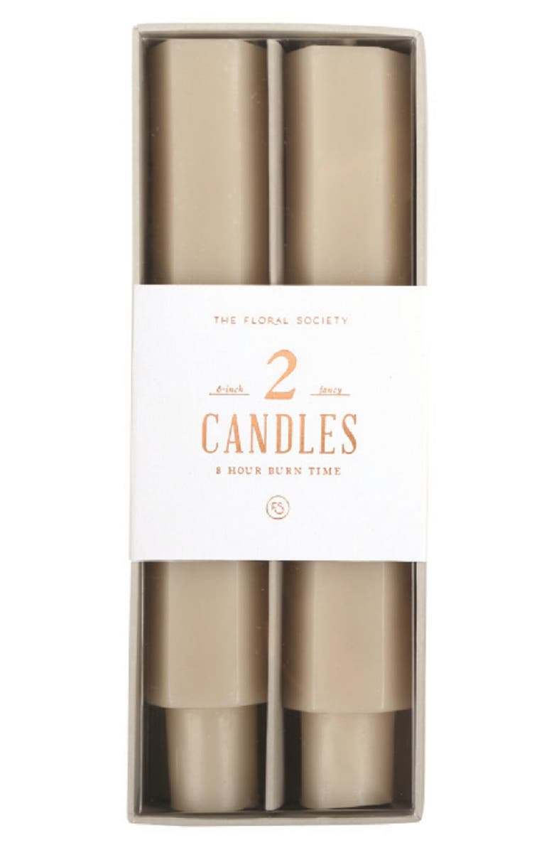 THE FLORAL SOCIETY Set of Two Six-Inch Fancy Taper Candles, Main, color, PARCHMENT