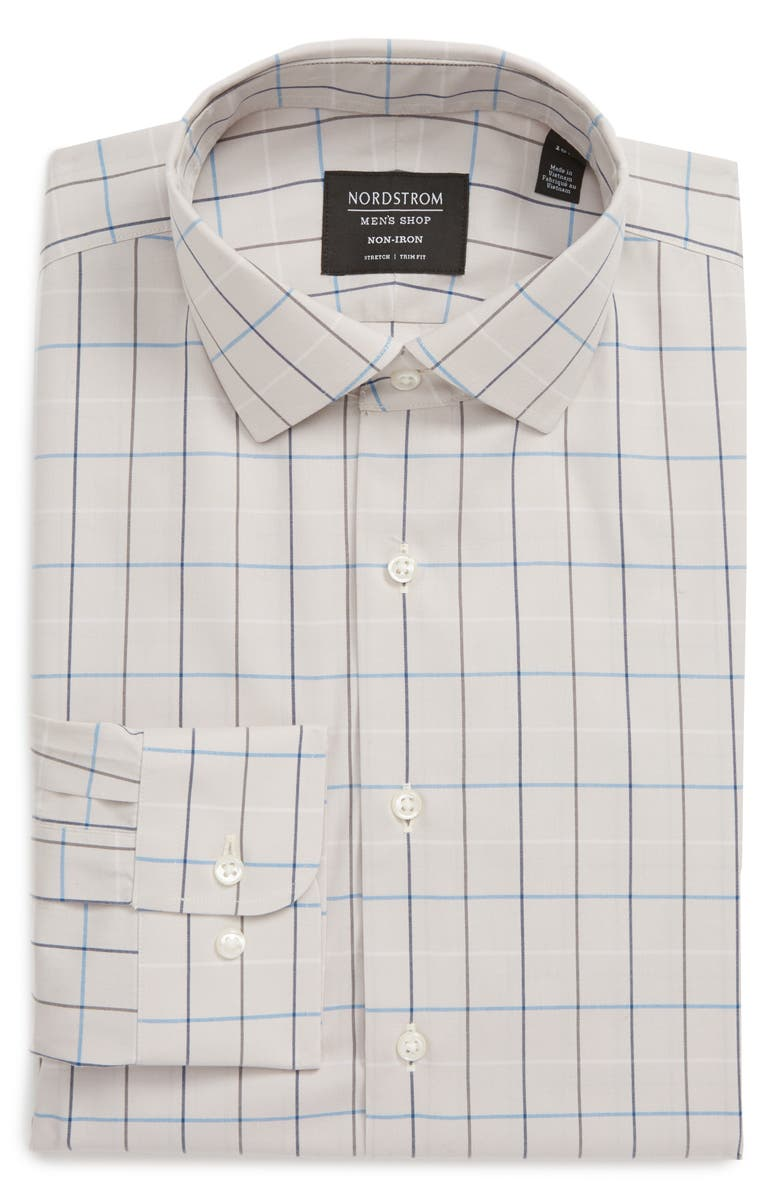 NORDSTROM Trim Fit Non-Iron Tattersall Plaid Dress Shirt, Main, color, 030