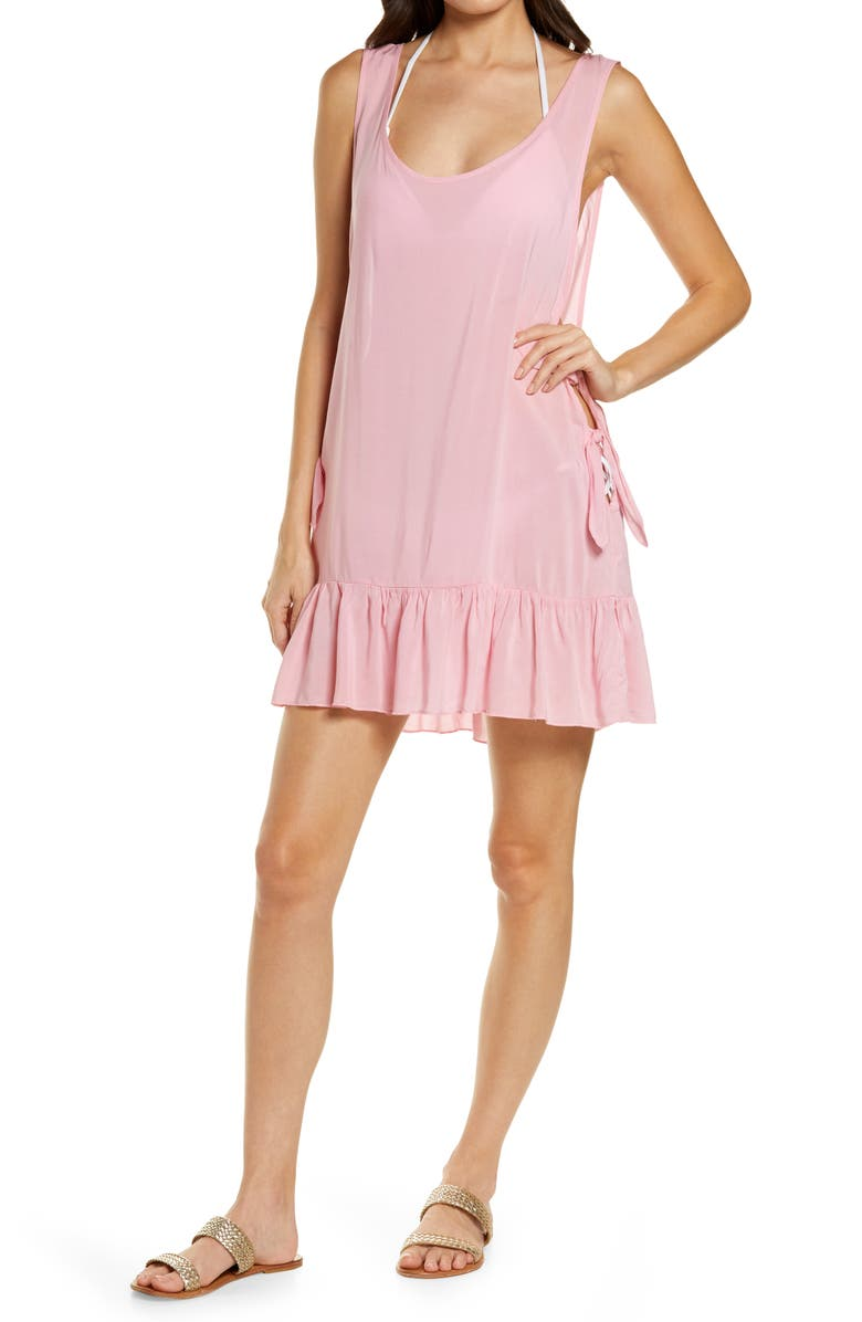 CHELSEA28 Tayla Side Tie Cover-Up Minidress, Main, color, PINK SHORE