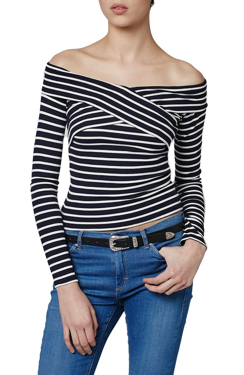 TOPSHOP Stripe Off the Shoulder Top, Main, color, 450