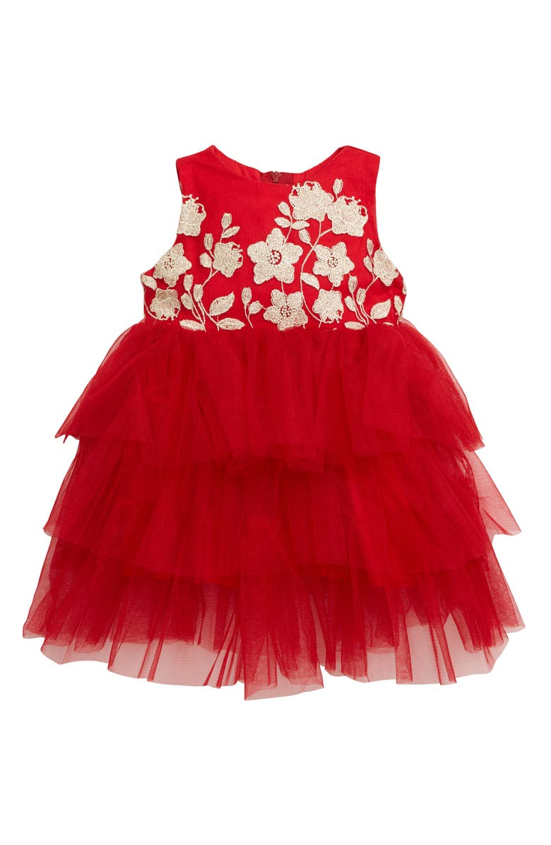 POPATU Embroidered Floral Tiered Tulle Dress, Main, color, 630
