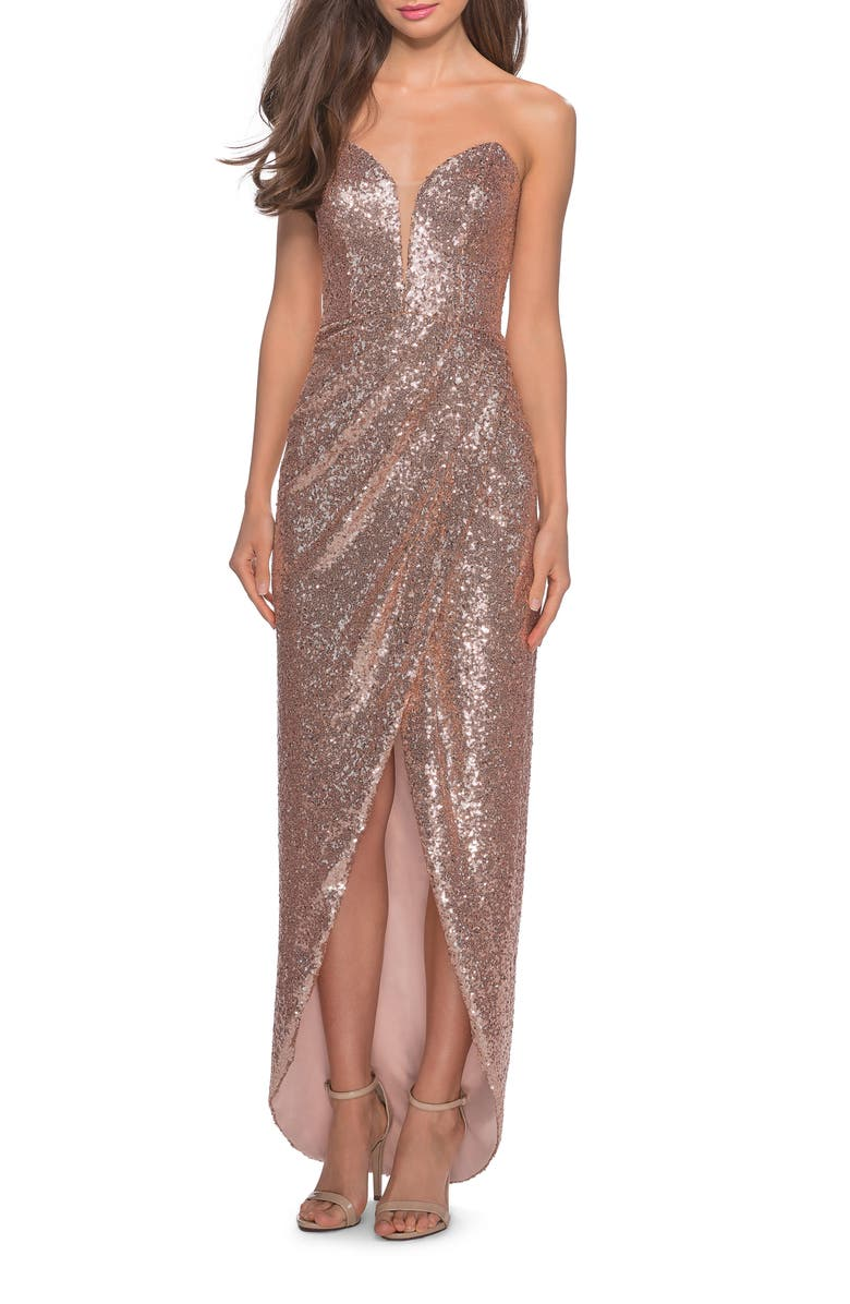 LA FEMME Sequin Strapless Ruched Gown, Main, color, ROSE GOLD