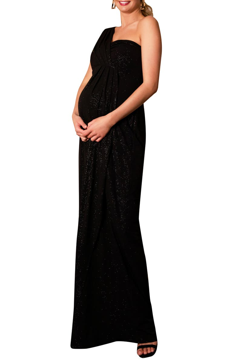 TIFFANY ROSE Galaxy One-Shoulder Maternity Gown, Main, color, NIGHT SKY