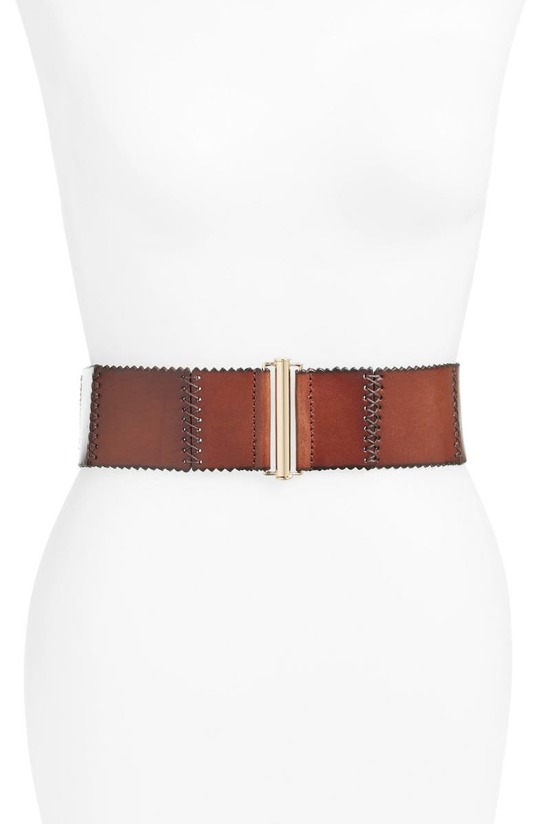 ELISE M. 'Woodland' Stitched Leather Belt, Main, color, 250
