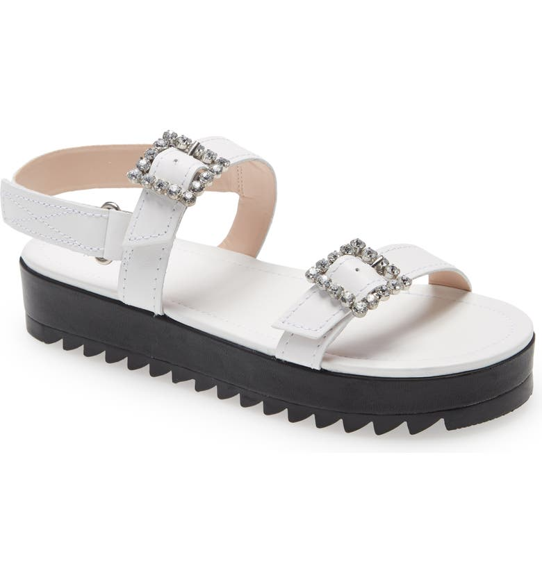 SCHUTZ Ruth Crystal Buckle Sandal, Main, color, WHITE LEATHER