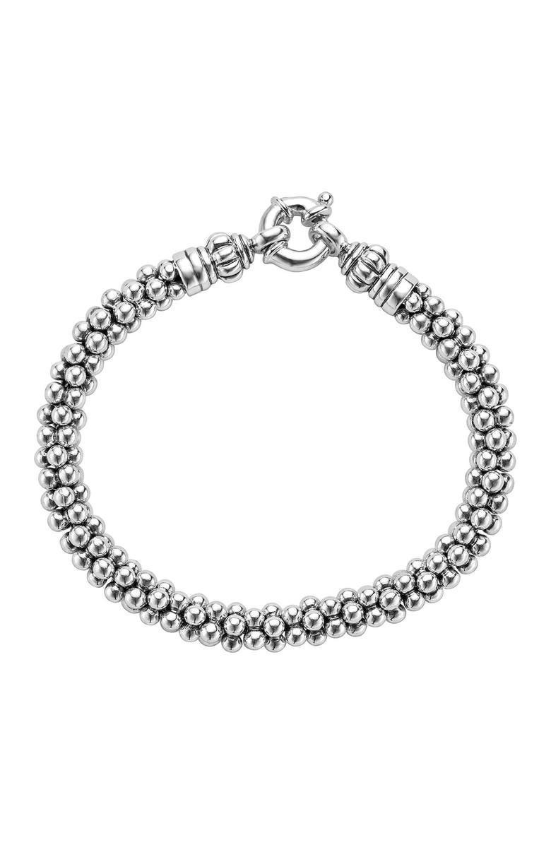 LAGOS Sterling Silver Caviar Beaded Rope Bracelet, Main, color, STERLING SILVER