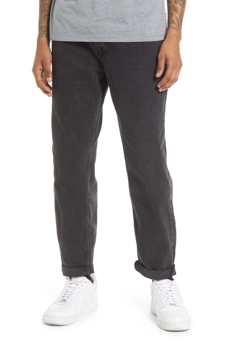 TOPMAN Relaxed Fit Crop Jeans, Main, color, BLACK