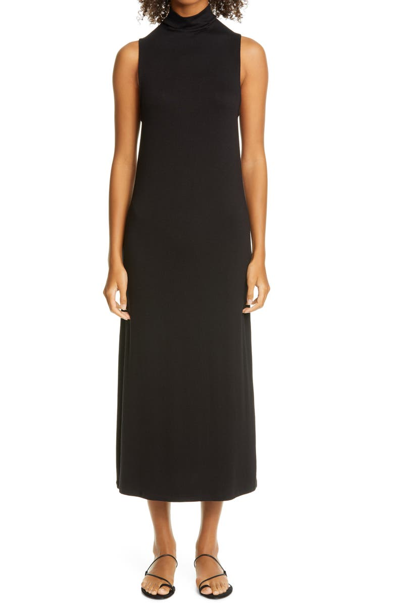 VINCE Mock Neck Sleeveless Midi Dress, Main, color, BLACK