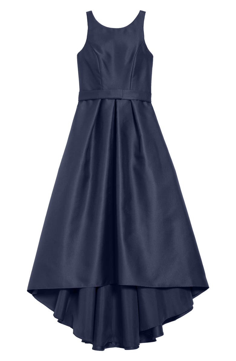 DESSY COLLECTION High/Low Junior Bridesmaid Dress, Main, color, MIDNIGHT
