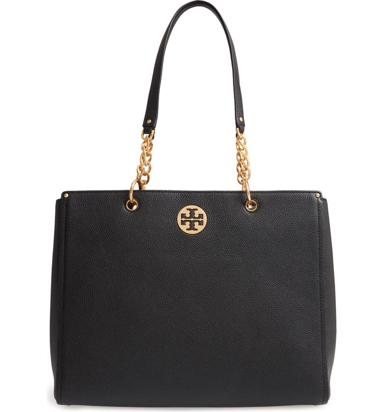 TORY BURCH Everly Leather Tote, Main, color, Black