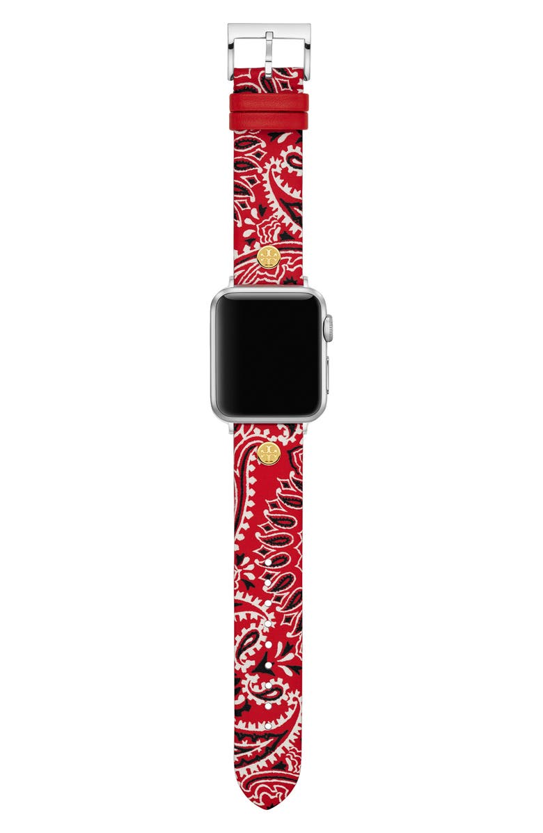 TORY BURCH Bandana Print Leather Strap for Apple Watch<sup>®</sup>, 38mm/40mm, Main, color, RED