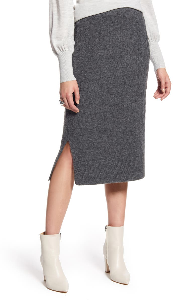HALOGEN<SUP>®</SUP> Cable Detail Sweater Skirt, Main, color, 021