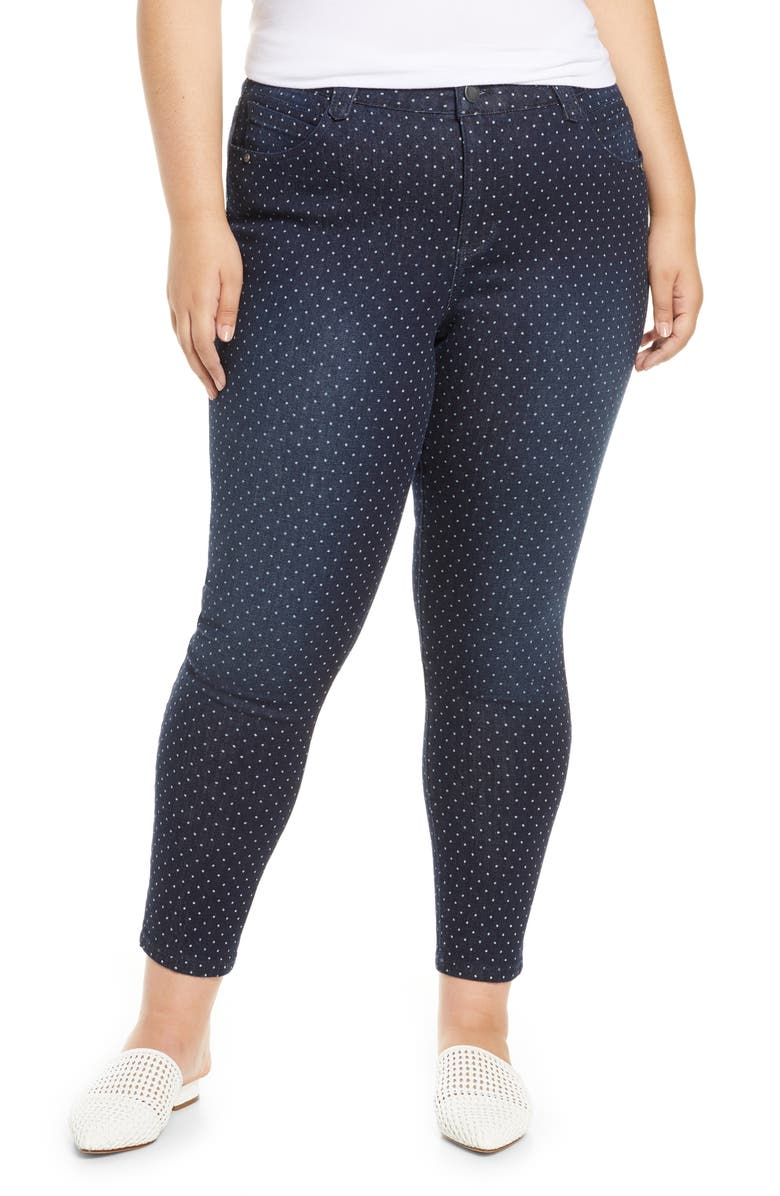 WIT & WISDOM Ab-Solution Dot Pattern Ankle Skinny Jeans, Main, color, 402