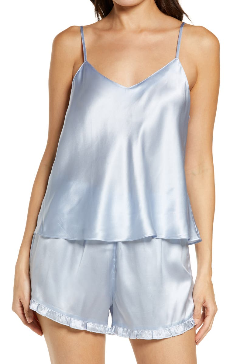 NORDSTROM Short Silk Pajamas, Main, color, BLUE FEATHER