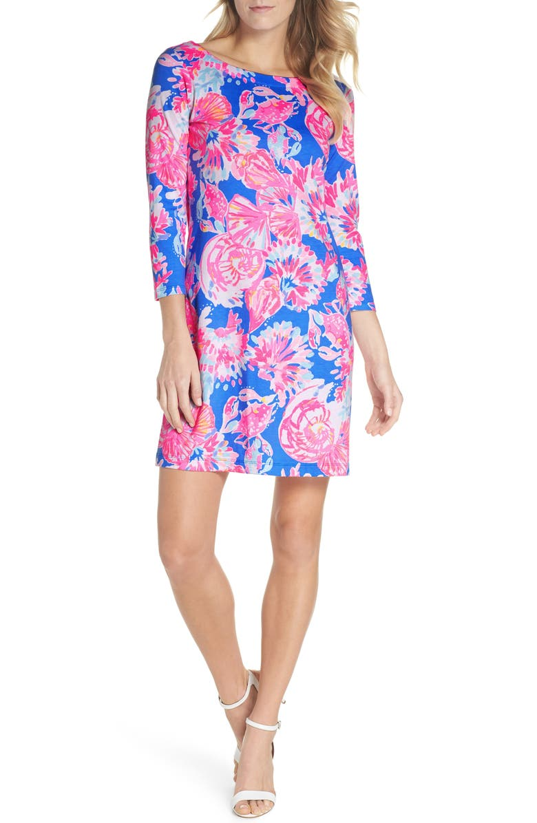 LILLY PULITZER<SUP>®</SUP> Noelle Floral Shift Dress, Main, color, BENNETT BLUE BAY DREAMIN
