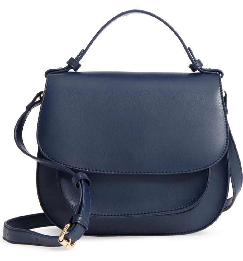 SOLE SOCIETY Faux Leather Crossbody Bag, Main, color, 400