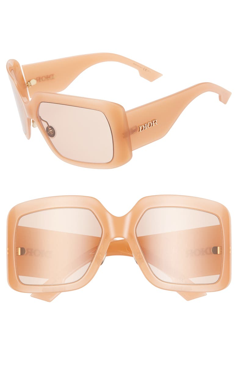 DIOR So Light 61mm Flat Front Square Sunglasses, Main, color, PINK/ PINK