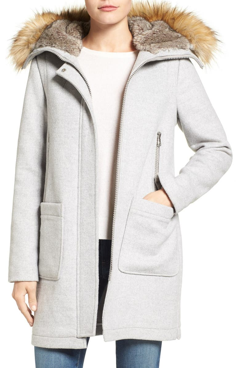 VINCE CAMUTO Wool Blend Duffle Coat with Faux Fur Trim Hood, Main, color, 090