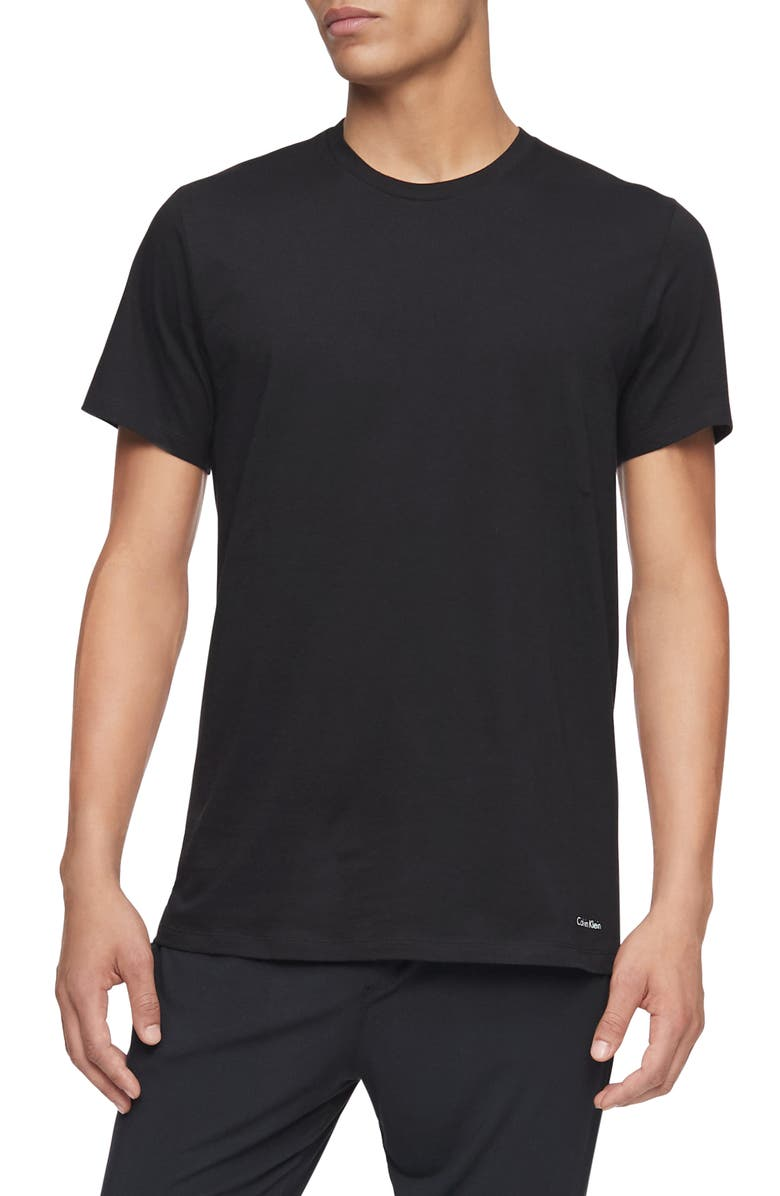CALVIN KLEIN 3-Pack Cotton Crewneck T-Shirt, Main, color, BLACK