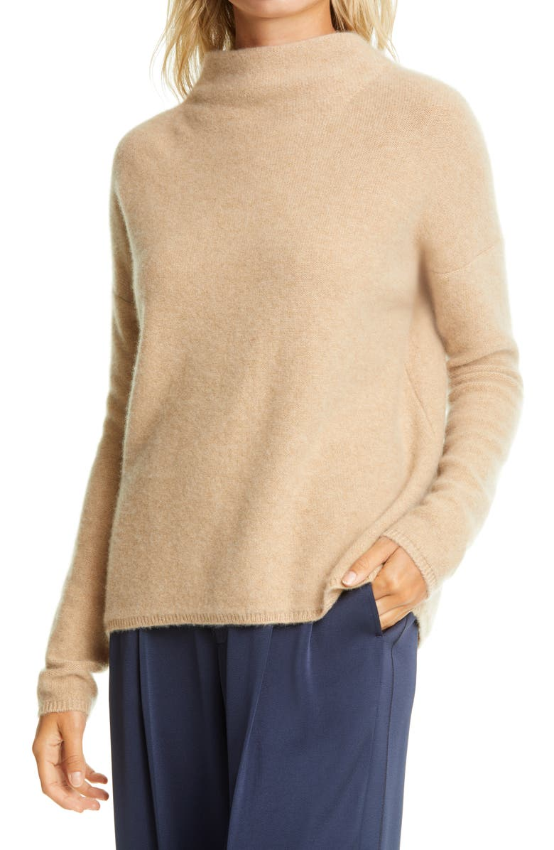 VINCE Funnel Neck Boiled Cashmere Sweater, Main, color, HEATHER DESERT CLAY