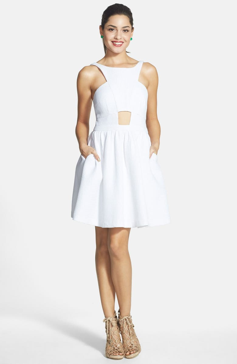 A. DREA Textured Party Dress with Cutouts, Main, color, White