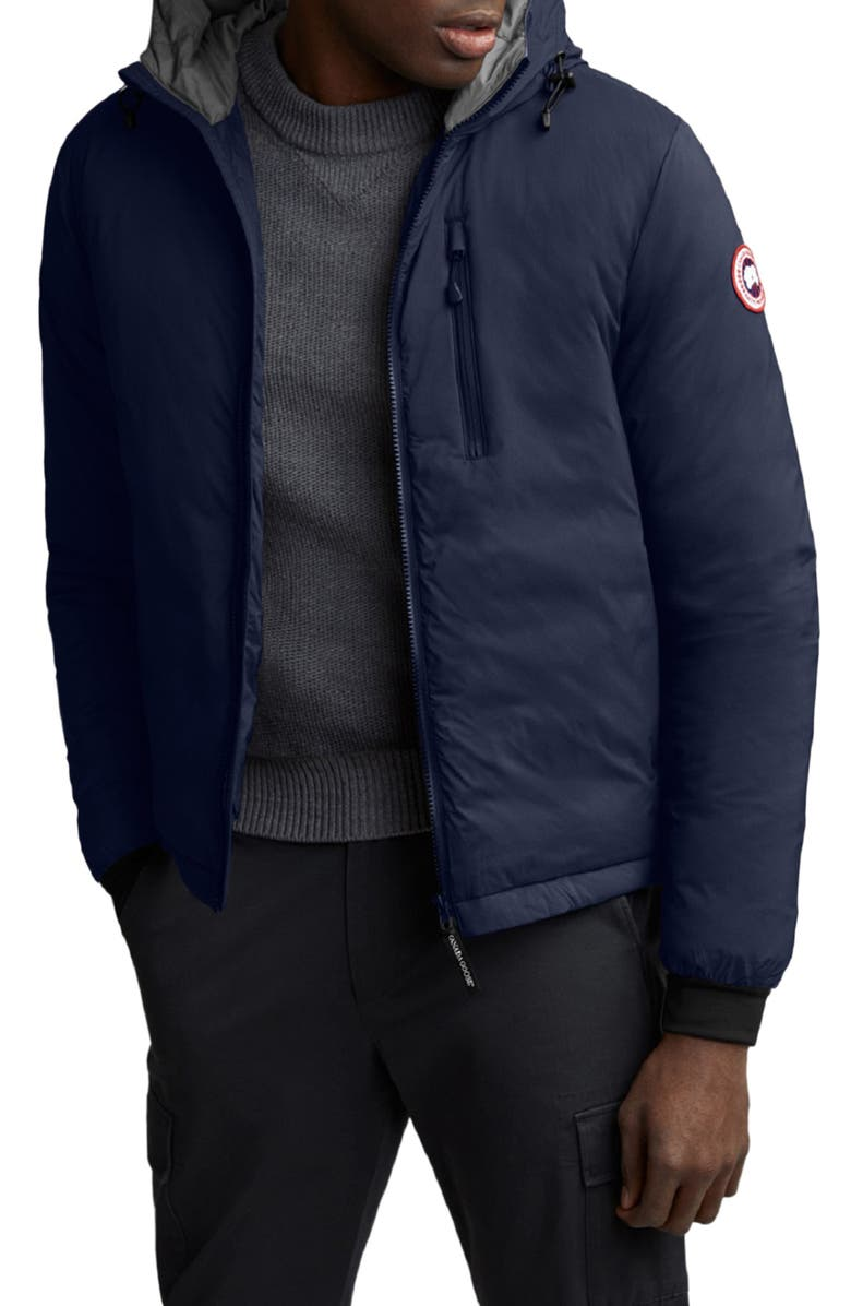 CANADA GOOSE Lodge Packable Windproof 750 Fill Power Down Hooded Jacket, Main, color, ATLANTIC NAVY