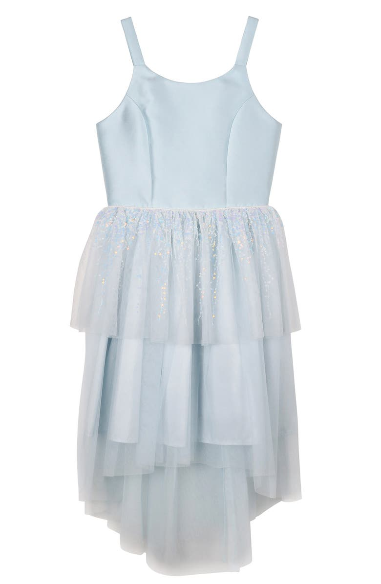 ZUNIE Kids' Sequin High/Low Dress, Main, color, ICY BLUE