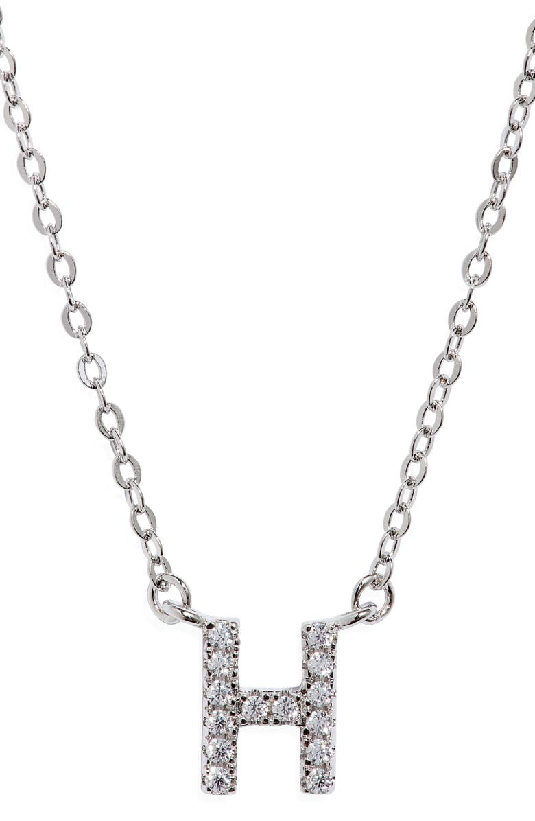 NORDSTROM Delicate Cubic Zirconia Initial Pendant Necklace, Main, color, H- CLEAR- SILVER